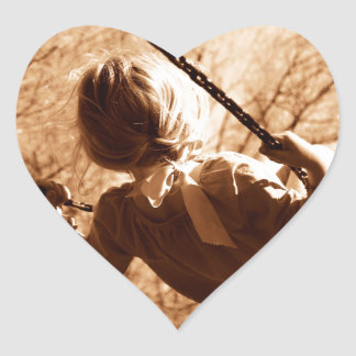 Adorable Child Swing Happiness Sepia Heart Sticker