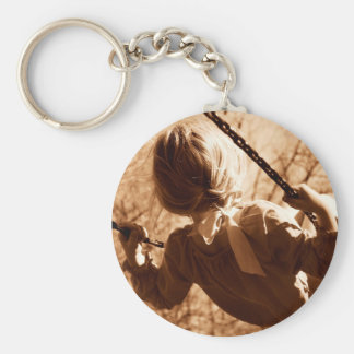 Adorable Child Swing Happiness Sepia Key Ring