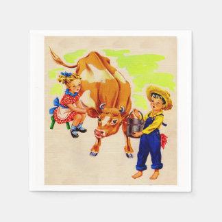 adorable children with adorable cow disposable serviette