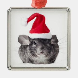 Adorable Chinchilla Santa Model Christmas Ornament