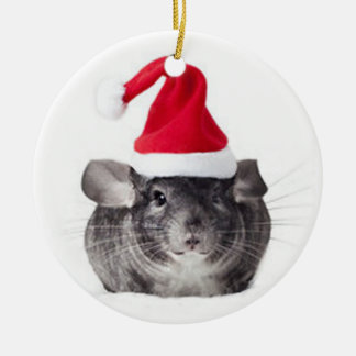 Adorable Chinchilla Santa Model Round Ceramic Decoration