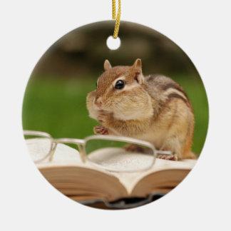 Adorable Chipmunk Reading Round Ceramic Decoration