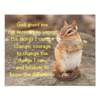 Adorable Chipmunk with Serenity Prayer Photograph