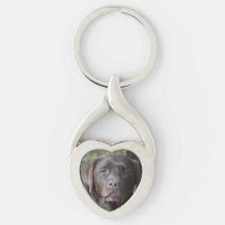 Adorable Chocolate Labrador Retriever Silver-Colored Heart-Shaped Metal Keychain
