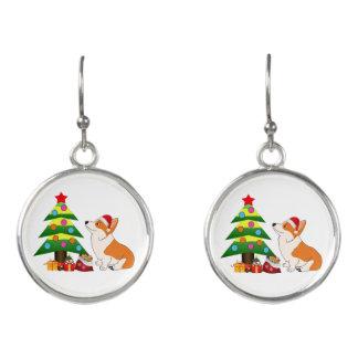 Adorable Christmas Corgi Cartoon Earrings