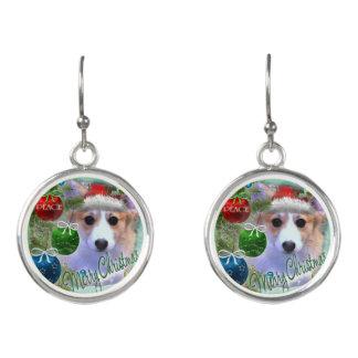 Adorable Christmas Corgi Puppy Earrings