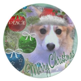 Adorable Christmas Corgi Puppy Plate