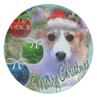 Adorable Christmas Corgi Puppy Plates