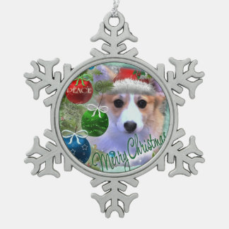 Adorable Christmas Corgi Puppy Snowflake Pewter Christmas Ornament