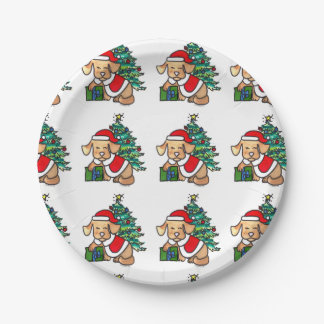 Adorable Christmas dog Plates
