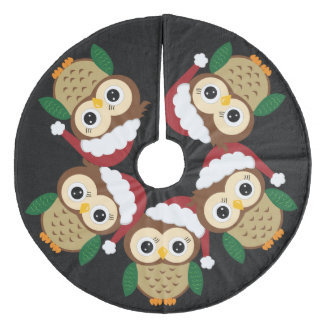Adorable Christmas Owl Fleece Tree Skirt