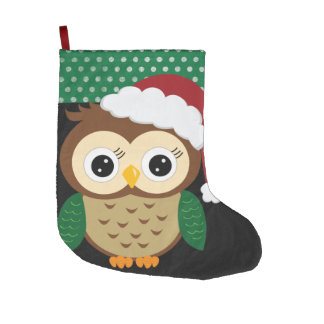 Adorable Christmas Owl Large Christmas Stocking