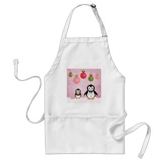 Adorable Christmas Penguins Pink Background Adult Apron