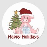 Adorable Christmas Pig Tees and Gifts Round Sticker