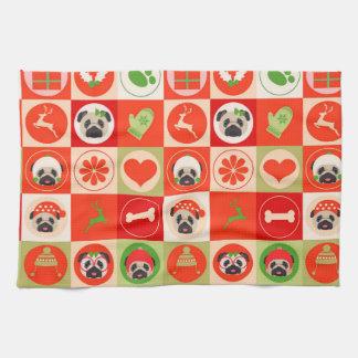 Adorable Christmas Pugs on Red, Green Checks Tea Towel