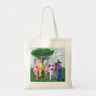 Adorable Colorful Cows and Farmer Budget Tote Bag
