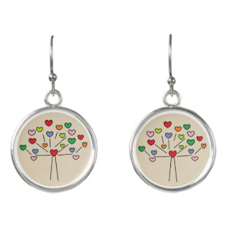Adorable Colorful Love Hearts Tree Design Earrings