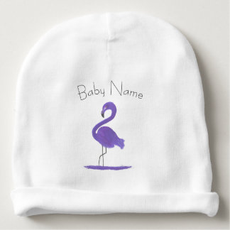 Adorable Colorful Purple Feathery Flamingo Art Baby Beanie