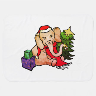 Adorable Colorful Santa Elephant in the Snow Baby Blanket