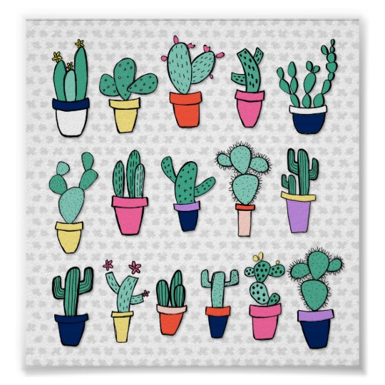 Adorable Colourful Cacti Illustration Poster