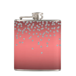 Adorable Coral Red Shiny Foil  Confetty Or Diamond Hip Flask