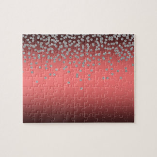 Adorable Coral Red Shiny Foil  Confetty Or Diamond Jigsaw Puzzle