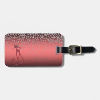 Adorable Coral Red Shiny Foil  Confetty,Red Cat Luggage Tag