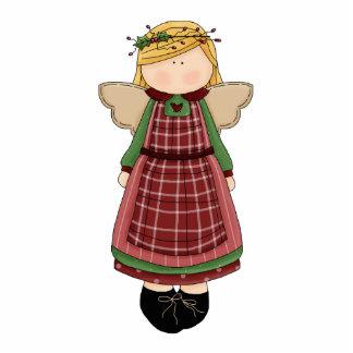 Adorable Country Folk Art Rag Angel Doll Photo Sculpture Magnet