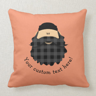 Adorable Country Plaid Black Bearded Character Cushion