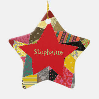 Adorable Crazy Quilt Add Name Christmas Ornament