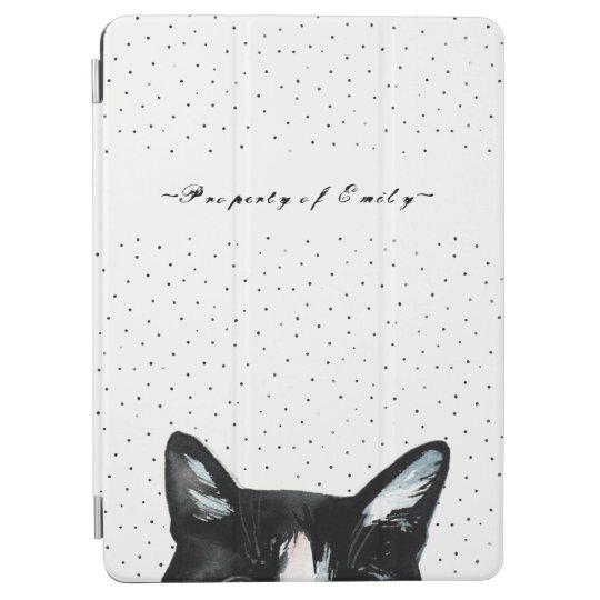 Adorable Curious Peeking Cat with Dots Black White