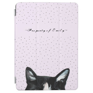 Adorable Curious Peeking Cat with Dots on Purple iPad Air Cover