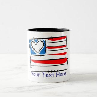 Adorable Customizable Heart Flag Mugs
