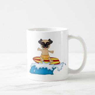 Adorable Customizable Pug Surfer Tees, Gifts Basic White Mug