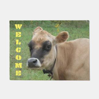 Adorable Cute Baby Cow Brown Tan Farm Animals Doormat