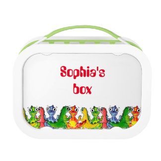 Adorable cute baby dinosaurs doodle picture design lunch box
