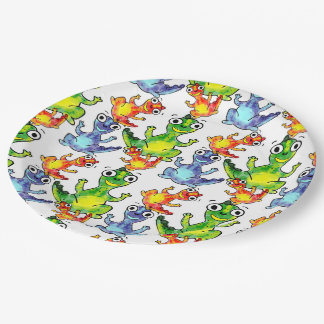 Adorable cute baby dinosaurs doodle picture design paper plate