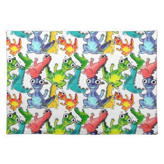 Adorable cute baby dinosaurs doodle picture design placemat
