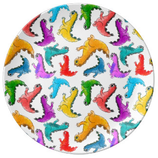 Adorable cute baby dinosaurs doodle picture design plate