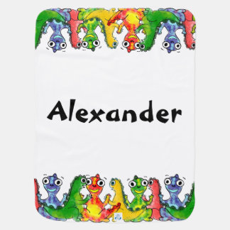 Adorable cute baby dinosaurs with baby's name baby blanket