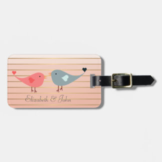 Adorable Cute Birds On Stripes Luggage Tag