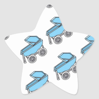 Adorable Cute Carriage Baby Boy Shower Star Sticker