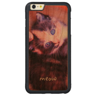 Adorable Cute Cuddly Sweet Kitten Cat Custom Carved® Cherry iPhone 6 Plus Bumper Case