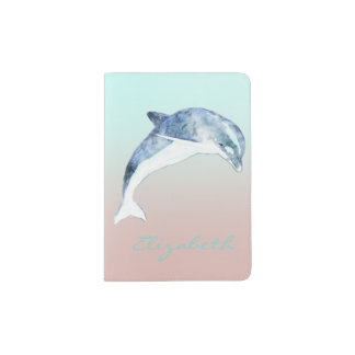Adorable Cute Dolphin  -Personalized Passport Holder