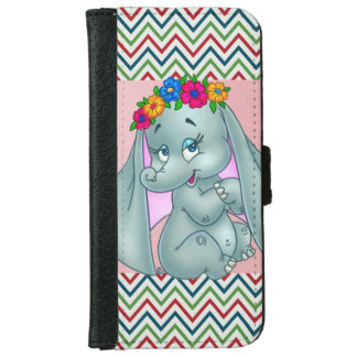 Adorable Cute Elephant On Zigzag iPhone 6 Wallet Case