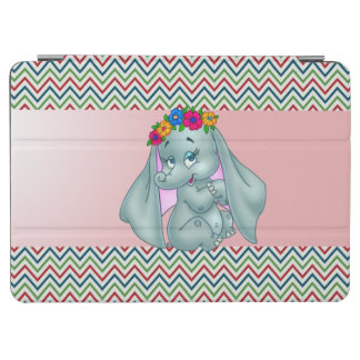Adorable Cute Elephant On Zigzag Pattern iPad Air Cover