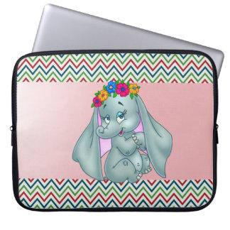Adorable Cute Elephant On Zigzag Pattern Laptop Sleeve