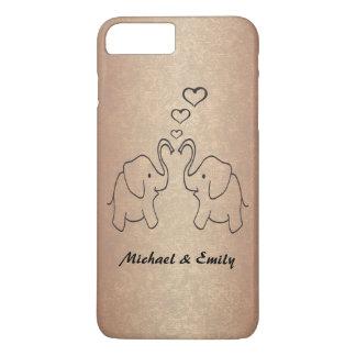 Adorable cute elephants in love rosegold iPhone 8 plus/7 plus case