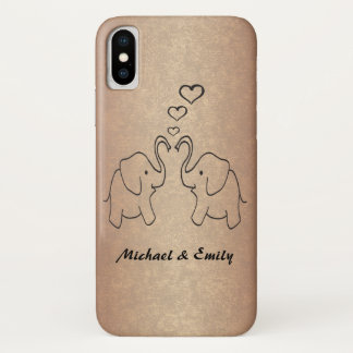 Adorable cute elephants in love rosegold iPhone x case