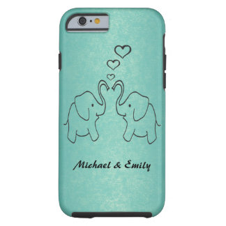 Adorable cute elephants in love tough iPhone 6 case